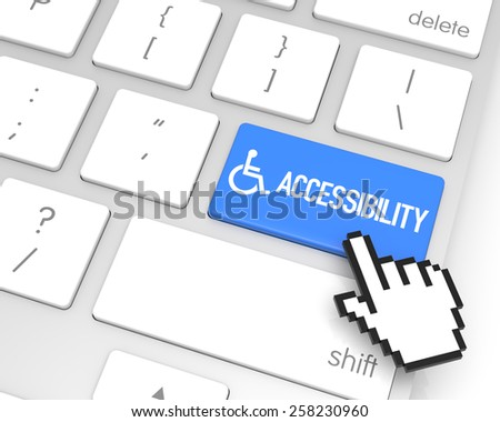 Accessibility enter key with hand cursor. 3D rendering - stock photo