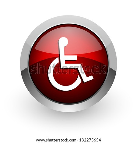 accessibility red circle web glossy icon - stock photo