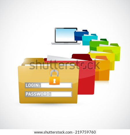 accessing private computer files. illustration design over a white background - stock photo
