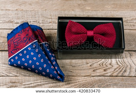 Accessories: butterfly, ties, cufflinks, for a classic suit - stock photo
