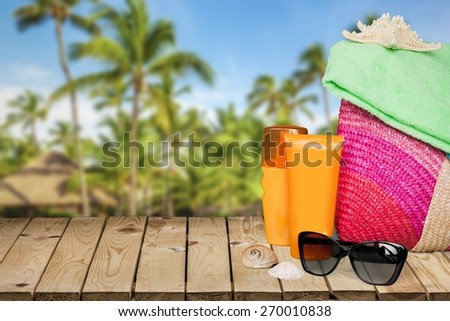 Accessories. Conceptual summer fun border, beach items isolated on white background, summertime tropical vacation and travel, women's accessories for outdoor relaxation, holidays - stock photo