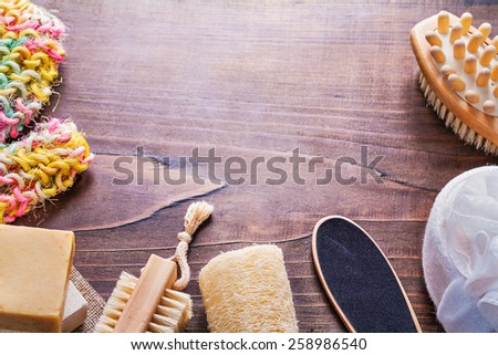 accessories for bathroom on vintage wooden board with copyspace  - stock photo