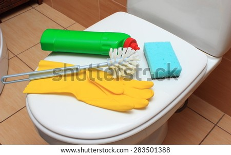 Accessories for cleaning toilet bowl, concept for house cleaning and household duties - stock photo
