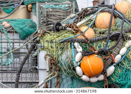 Accessories for fishing on the harbor / Fishnet / at the harbor - stock photo