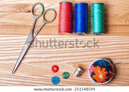 Accessories for sewing - stock photo