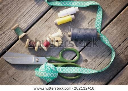 Accessories for sewing scissors - stock photo