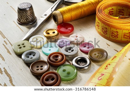 accessories for sewing, selective focus