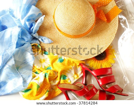 accessories for sunbathing - stock photo