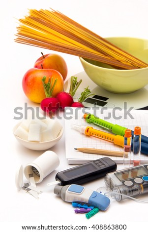 Accessories you need to control diabetes - stock photo