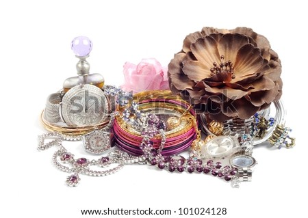 Accessory and swiss watch  with jewelry  , over white - stock photo