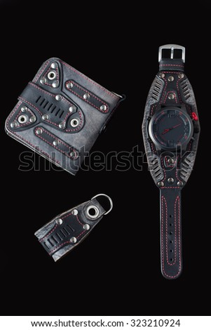 accessory kit. biker watch, wallet and key ring.  - stock photo