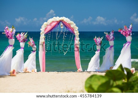 Accessory kit wedding on shores caribbean stock photo edit now accessory kit for a wedding is on the shores of the caribbean sea arch is junglespirit Gallery