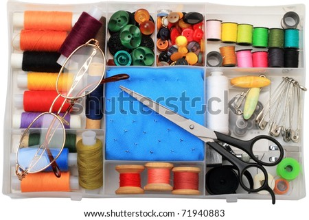 Accessory kit for sewing at home and glasses - stock photo