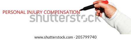 Accident claims specialist legal advice concept with injured hand writing key words - stock photo