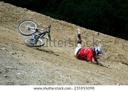 Accident on a mountain bike - stock photo
