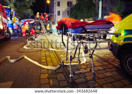 Accident on the city road at night. - stock photo