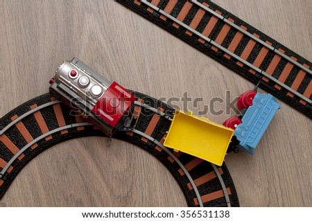 Accident on the railways: train is out of railway - stock photo