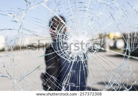 accident prevention glass broken by a hammer