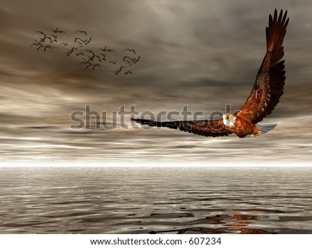 Accipitridae, the american bald eagle flying over the ocean,dark dramatic sky and puffy clouds, seagulls in the background.  3D render. - stock photo
