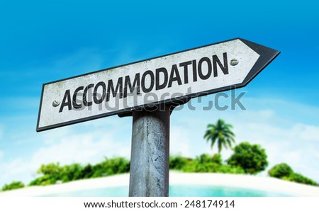 Accommodation sign with a beach on background - stock photo