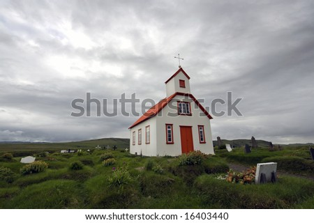 According to Icelandic tradition, Christianity and the belief in the Saga go hand in hand; the wooden churches, surrounded by graves, together with the gloomy weather sketch this feeling of religion
