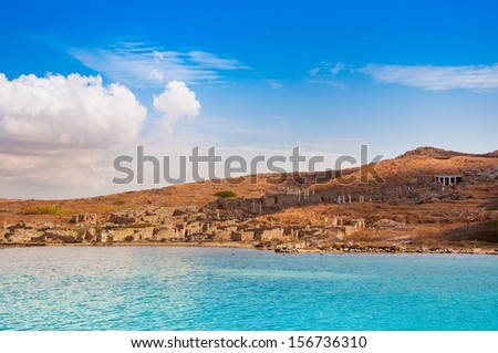 According to legend - a bay - the birthplace of Apollo ... The island of Delos. Greece. - stock photo