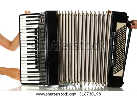 Accordion isolate on white - stock photo