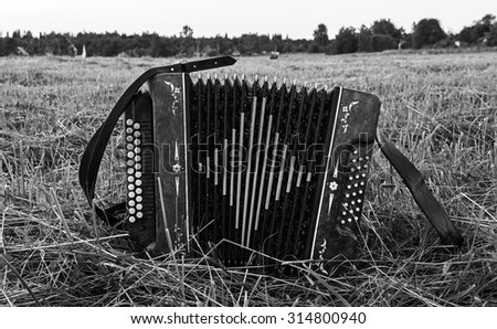 Accordion on the field. Retro toning. - stock photo