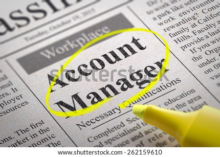 Account Manager Vacancy in Newspaper. Job Seeking Concept. - stock photo