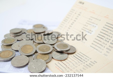 account passbook and thai Money - stock photo