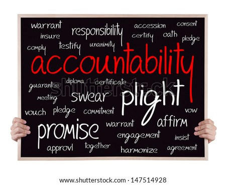 accountability and other related words handwritten on blackboard with hands - stock photo