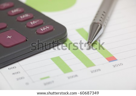 Accountancy graphics and calculator - stock photo