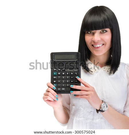 Accountant business woman with a calculator.  Over white background