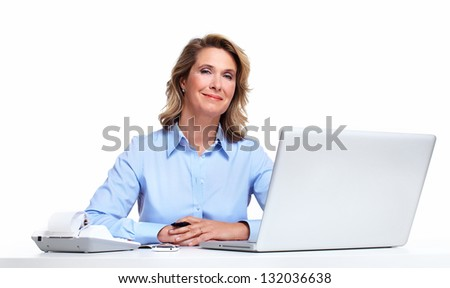 Accountant business woman with a laptop computer. Isolated on white background. - stock photo