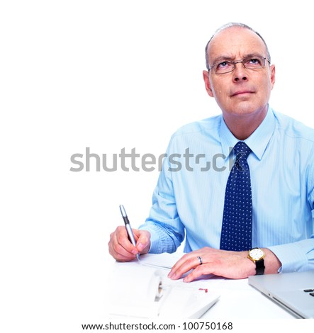 Accountant businessman. Isolated on white background. - stock photo