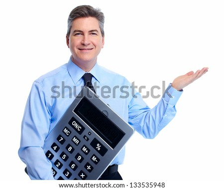 Accountant Businessman with calculator isolated on white background.