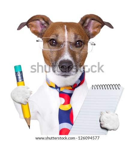 accountant dog with pencil and notepad
