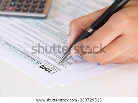 Accountant filing federal tax form 1040