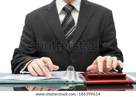 accountant in middle of work - stock photo