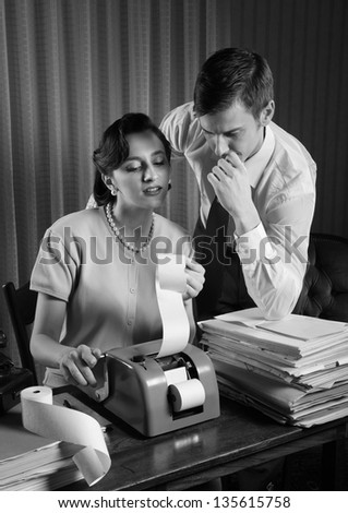accountant secretary and business man in a vintage office