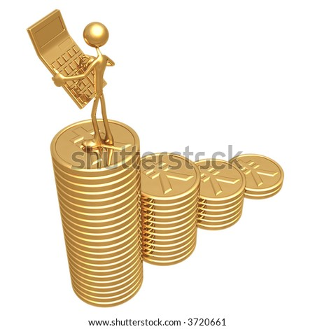 Accountant With Golden Calculator On Growth Statistics Business Graph Of Gold Yen Coins - stock photo