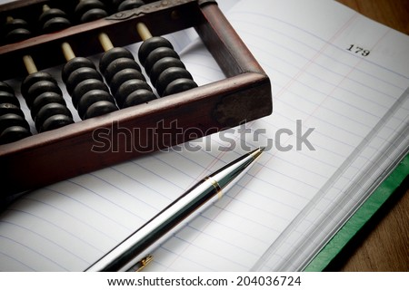 Accountants era before digital system. - stock photo