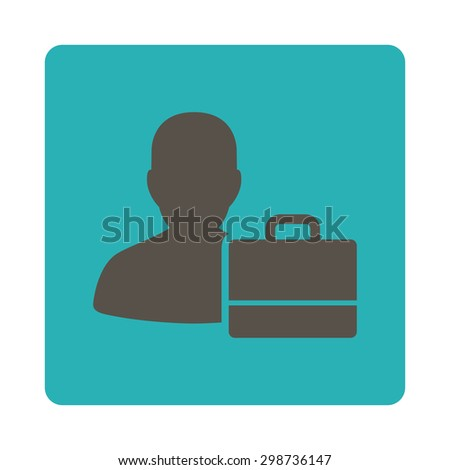 Accounter icon from Commerce Buttons OverColor Set. Glyph style is grey and cyan colors, flat square rounded button, white background.