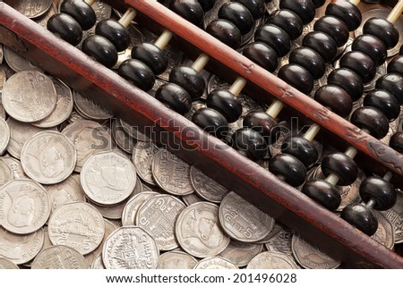 Accounting abacus on money - stock photo