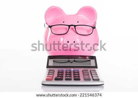 Accounting and savings concept. Isolated on white - stock photo