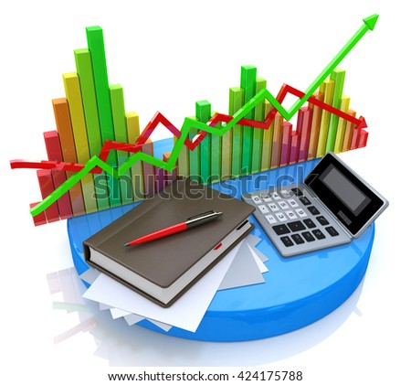 Accounting - Business calculation in the design of information related to business and economy. 3d illustration - stock photo