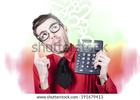 Accounting businessman showing income tax return growth on calculator when pointing up to rising numbers