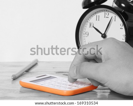 Accounting concept Hands and the calculator