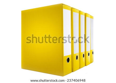 Accounting concept, yellow holders of files on white background. - stock photo