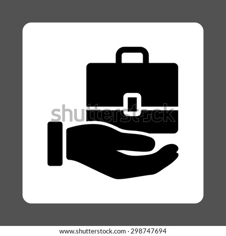 Accounting icon from Commerce Buttons OverColor Set. Glyph style is black and white colors, flat square rounded button, gray background. - stock photo